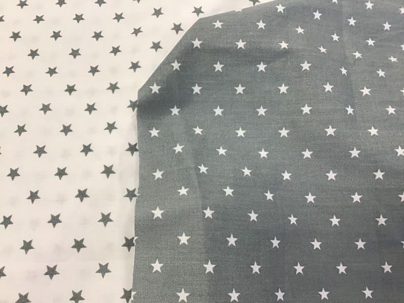 Estrellas gris y blanco